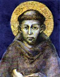 historisches Bild mit einer Darstellung des Hl. Franziskus